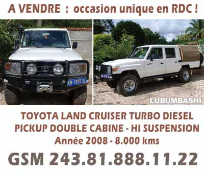 une pickup toyota land cruiser turbo d 39 occasion vendre lubumbashi. Black Bedroom Furniture Sets. Home Design Ideas